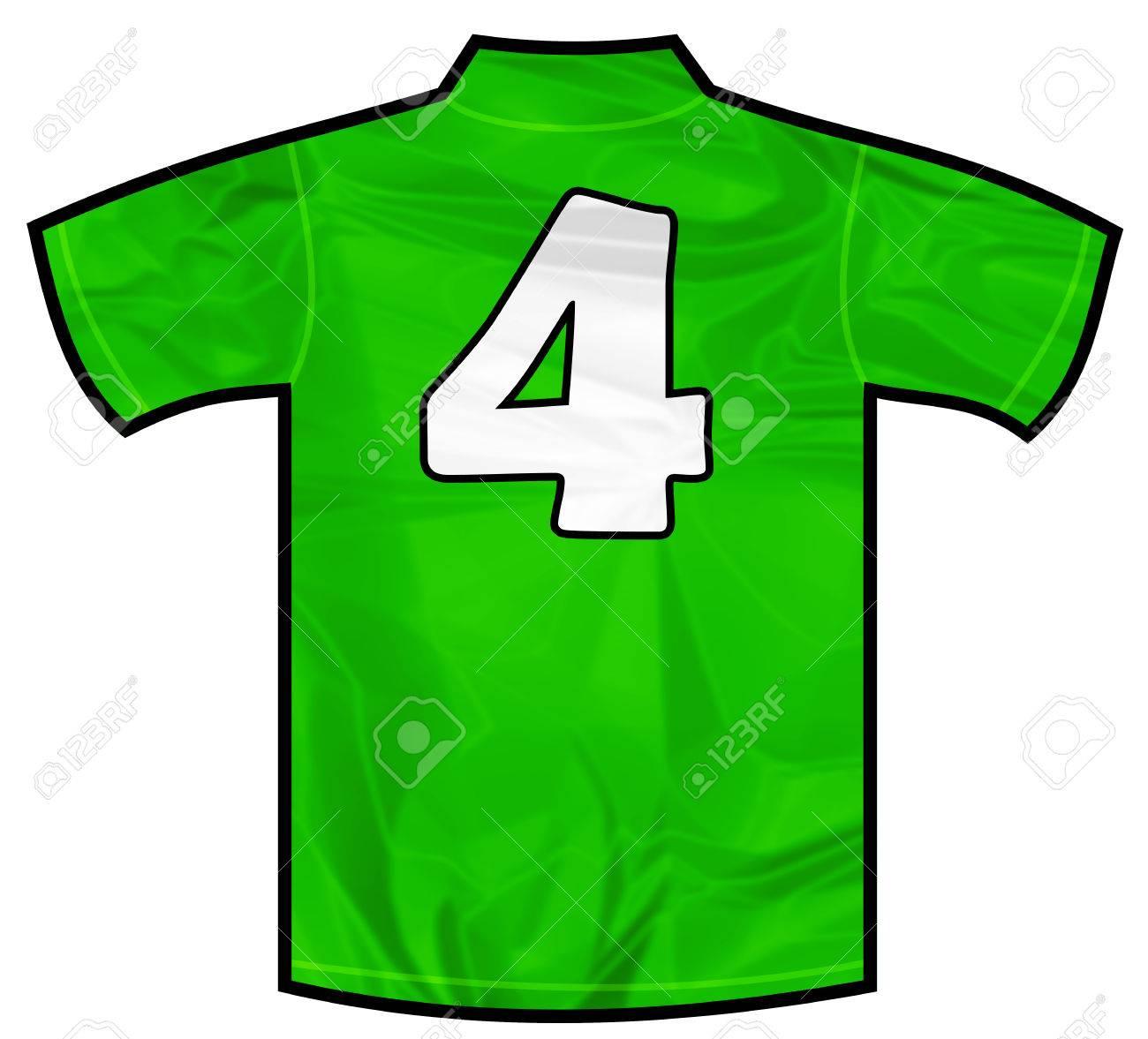 28c799176 Number 4 Four Green Sport Shirt As A Soccer