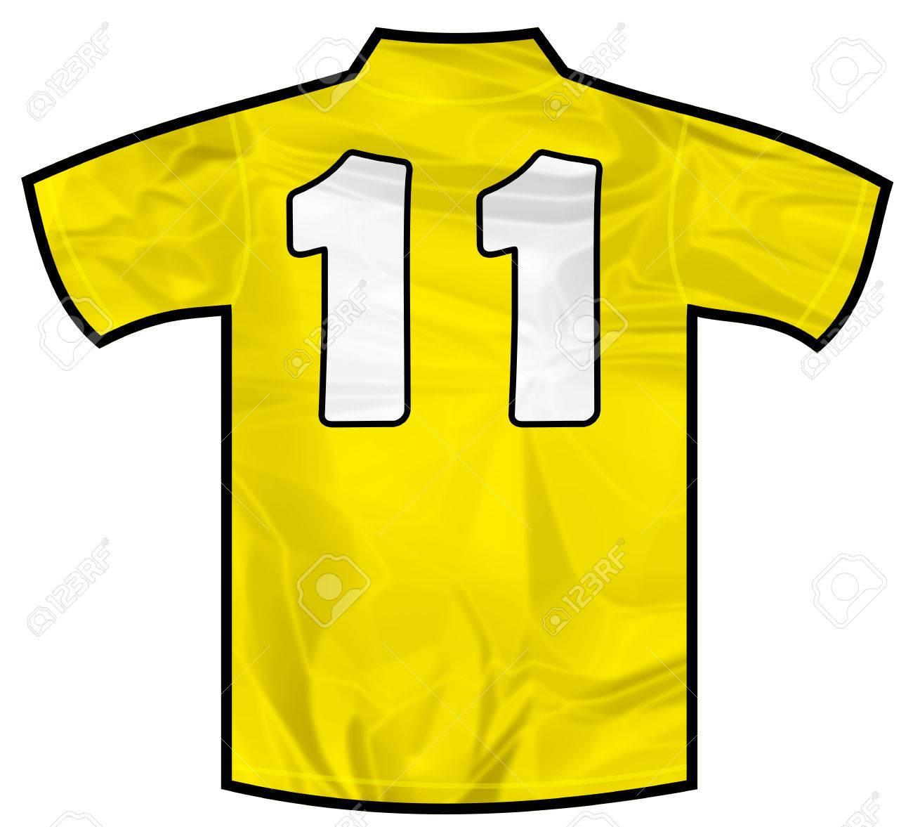 295ef3e09d7b Foto de archivo - Número 11 once camisa deportiva amarilla como fútbol,  ??hockey, baloncesto, rugby, béisbol, voleibol o equipo de fútbol camiseta.