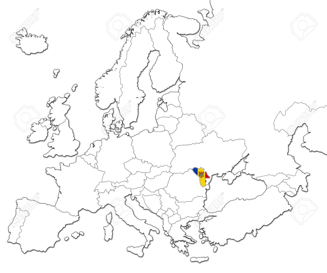 The National Moldova Flag In The Map Of Europe Isolated On White