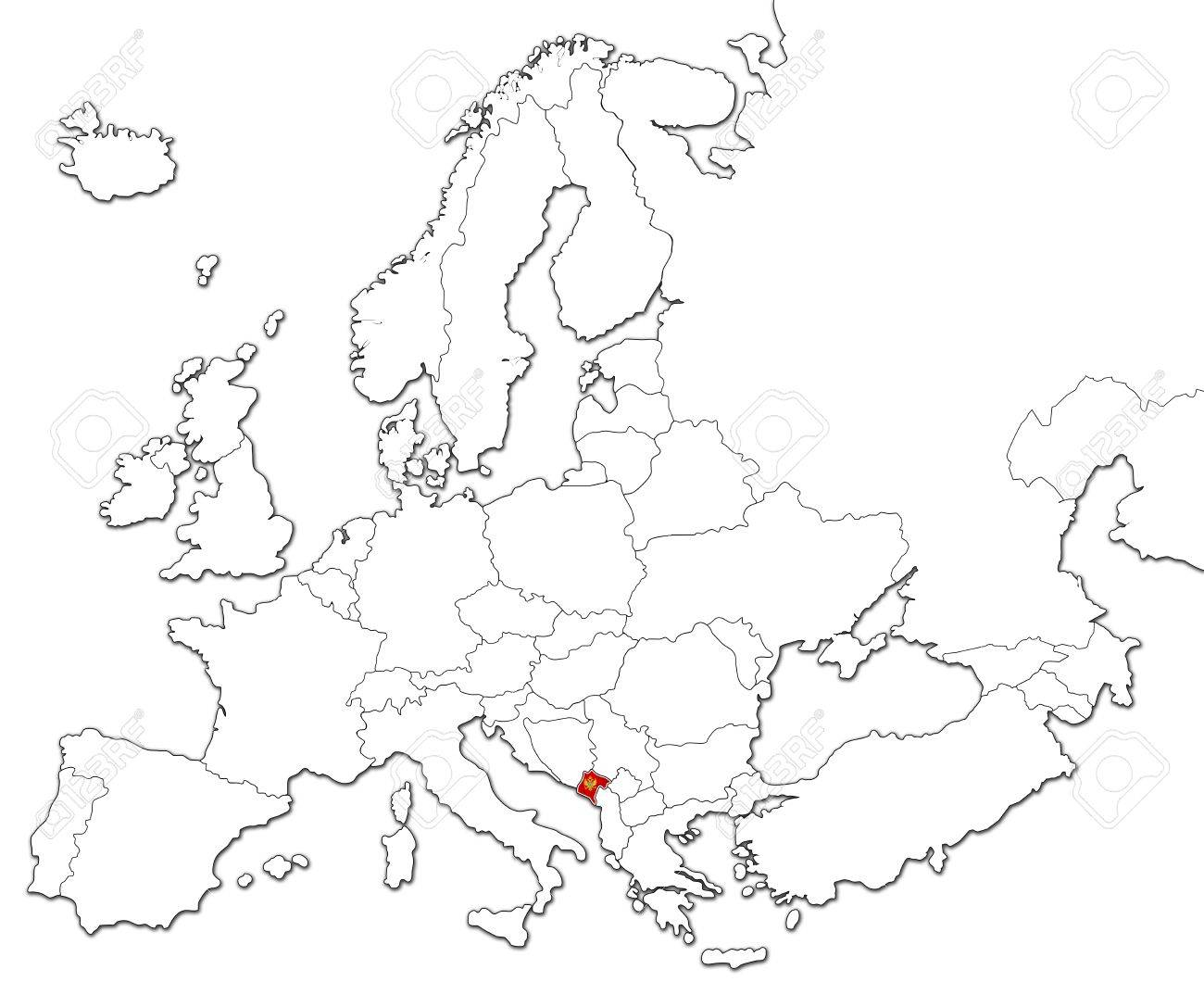 The National Montenegro Flag In The Map Of Europe Isolated On