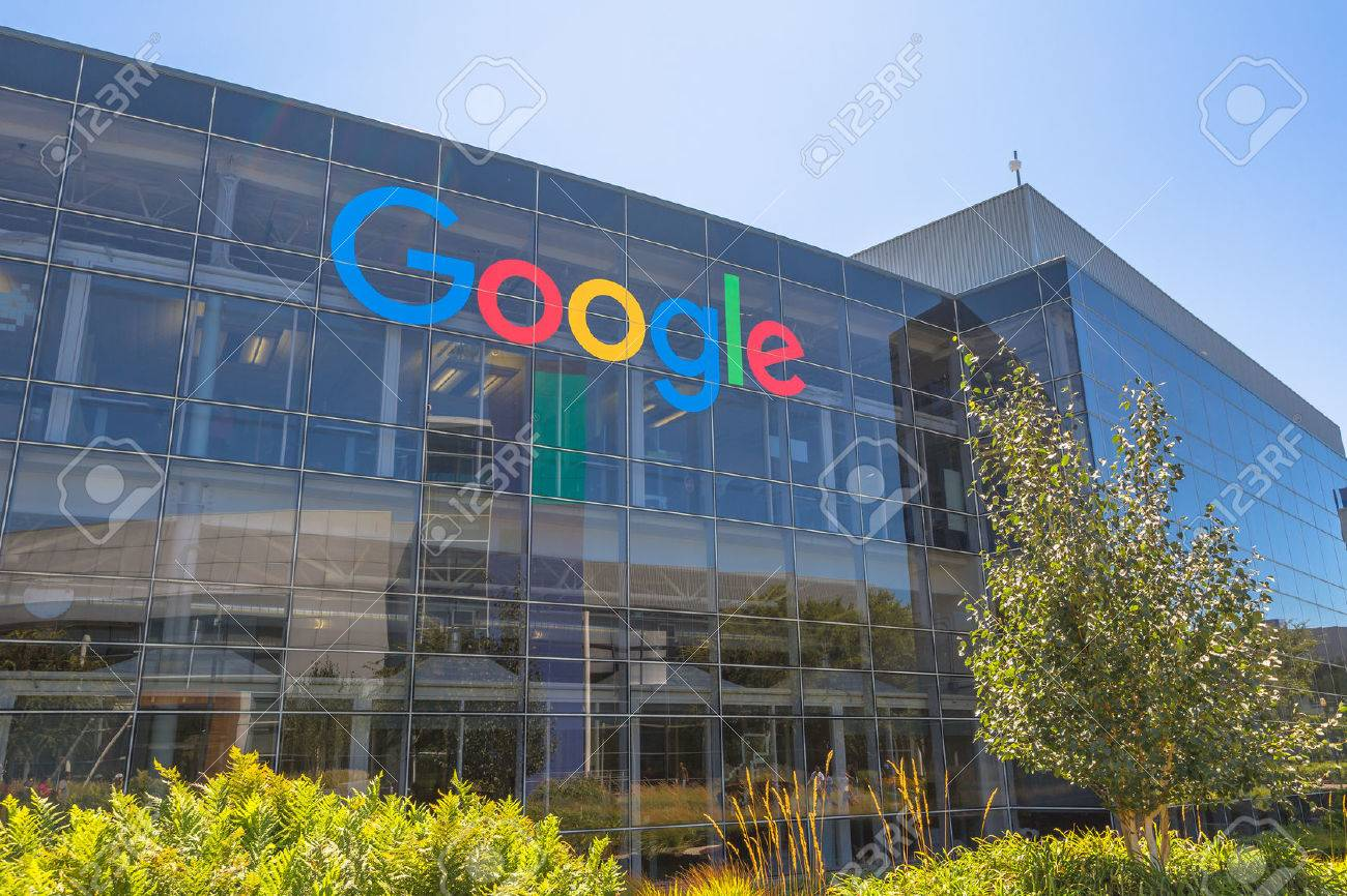 Mountain View, California, USA - August 15, 2016: Google sign on one of the Google buildings. Google is an American multinational corporation specializing in Internet services and products. - 63166647
