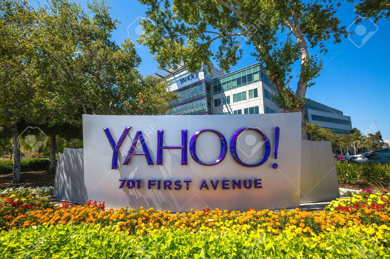 Sunnyvale, CA, United States - August 15, 2016: Yahoo icon outside Yahoo Headquarters. Yahoo is a company providing internet services founded in 1994 by David Filo and Jerry Yang. Stock Photo - 63408842