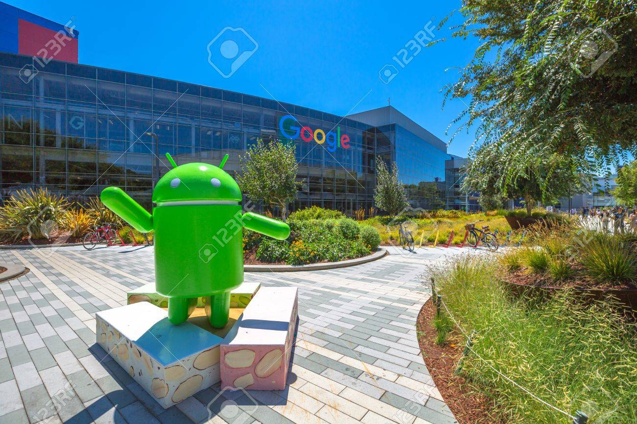 Mountain View, California, USA - August 15, 2016: Android Nougat replica in front of Google office in Google headquarters building. - 65923842