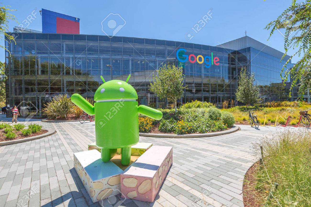 google office california. Mountain View, California, USA - August 15, 2016: Android Nougat Replica In Google Office California