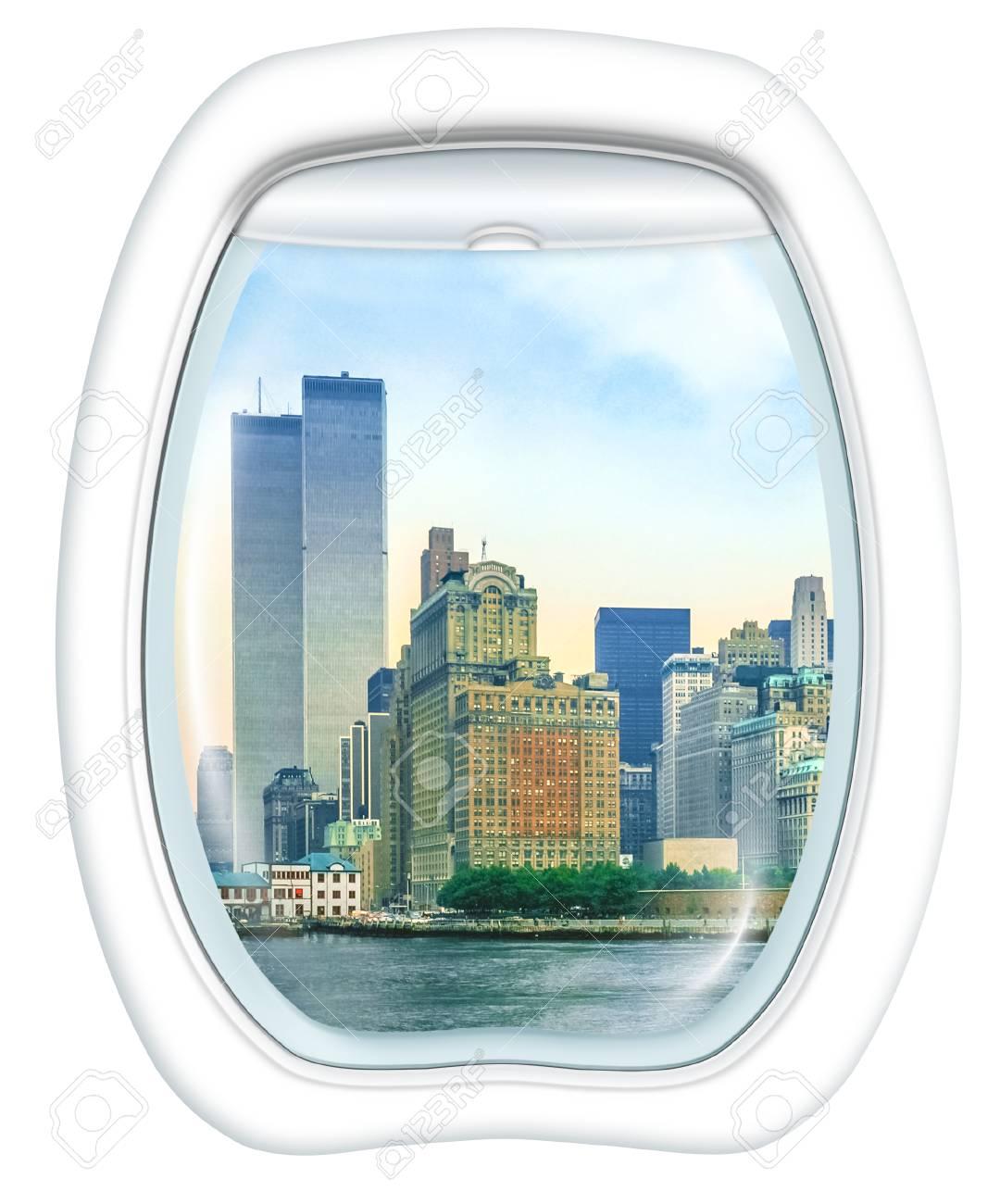 Ventanilla Del Avión En La Ciudad De Nueva York Con World Trade ...