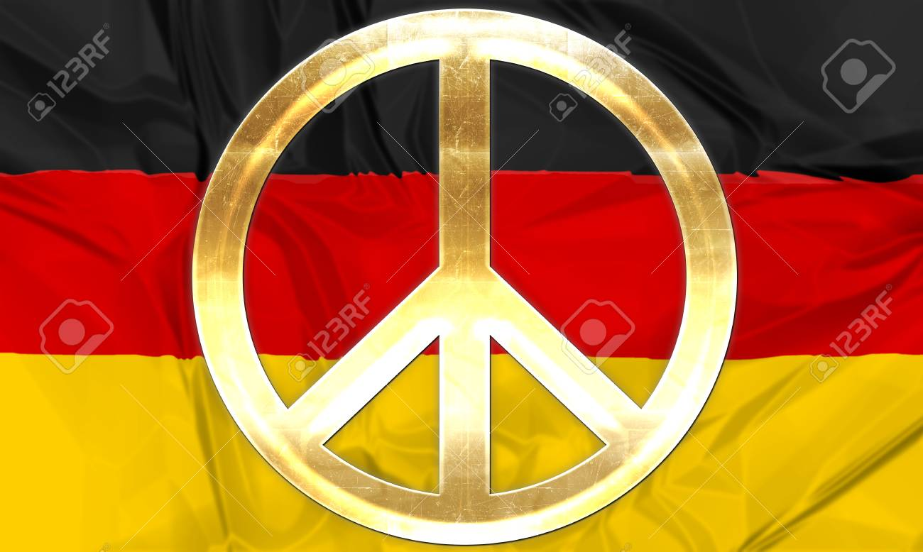The national flag of germany with golden peace symbol in gold the national flag of germany with golden peace symbol in gold banque dimages biocorpaavc