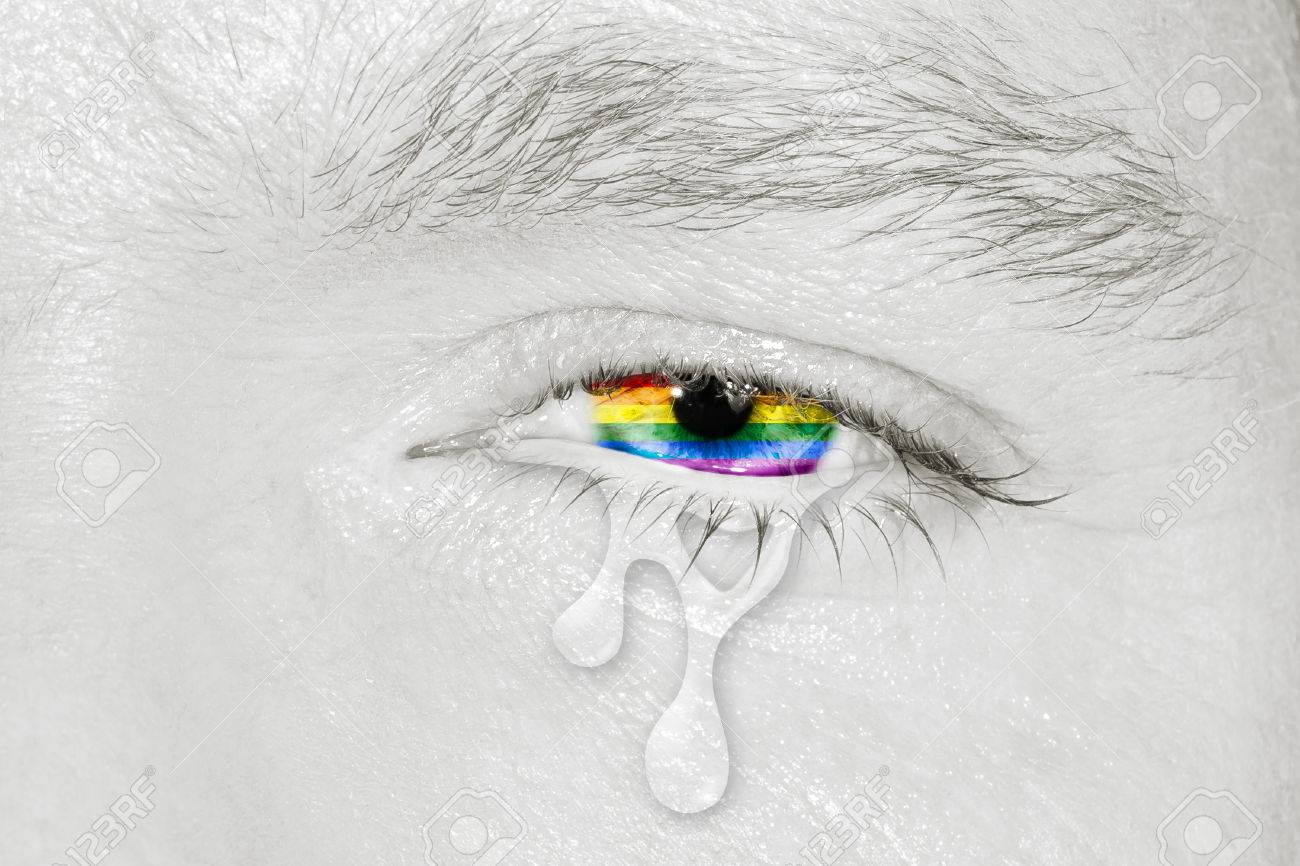 Crying Eye With Rainbow Flag Iris On Black And White Face Concept