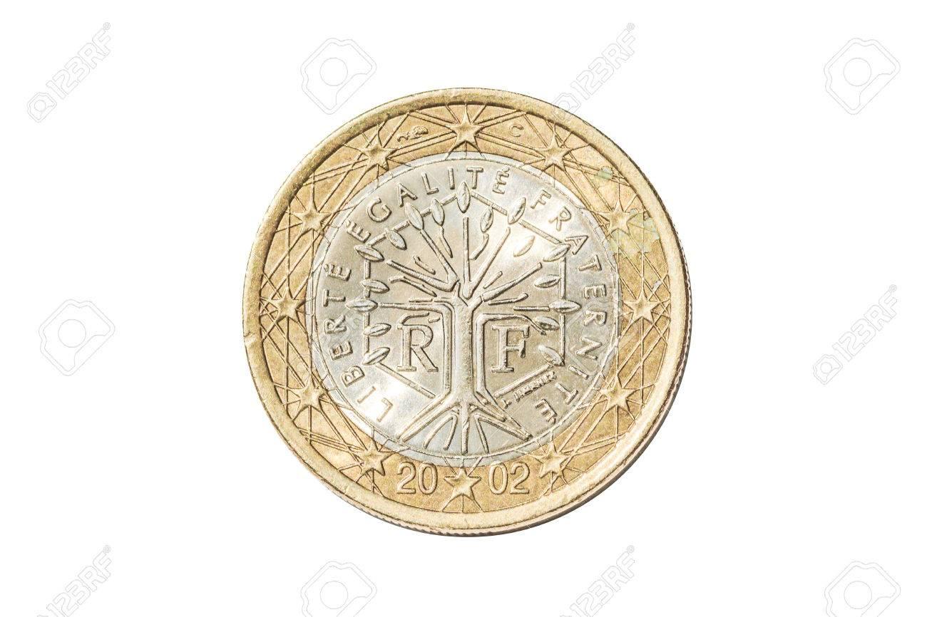 Französische Münze Von Einem Euro Closeup Mit Baum Symbol Mit Dem