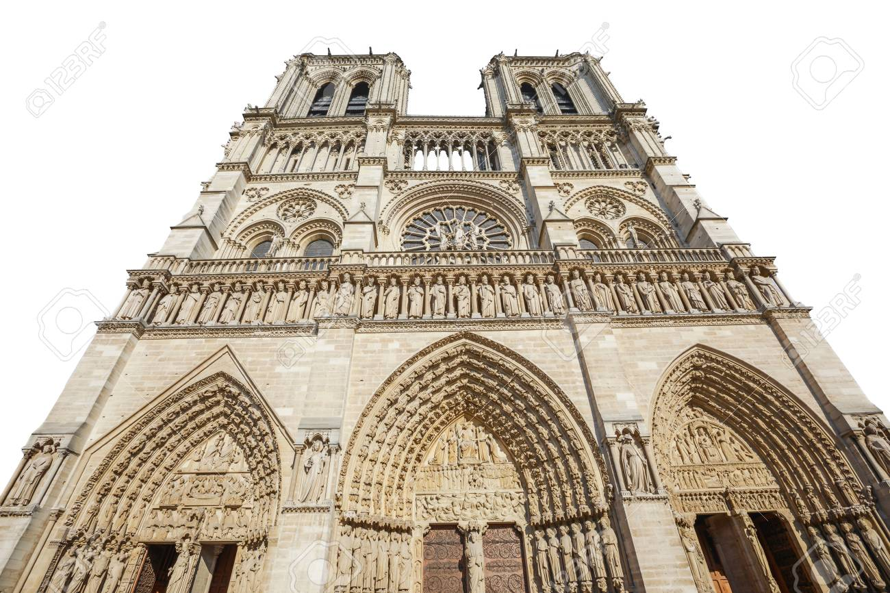 Bottom View Of French Gothic Architecture Notre Dame Cathedral Paris France Isolated