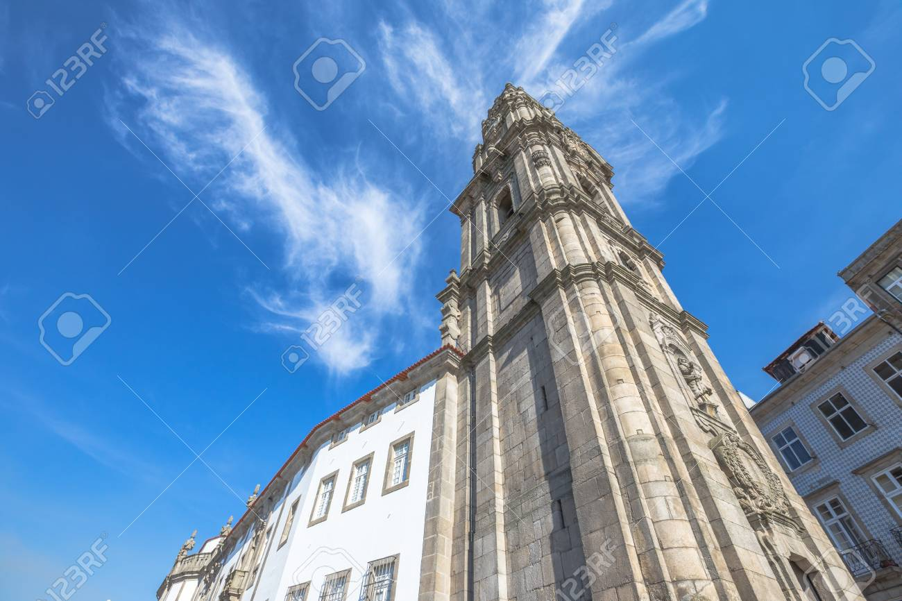 Bottom View Of Baroque Church Of Clerigos Or Igreja Dos Clerigos, In  Portuguese, And Ideas