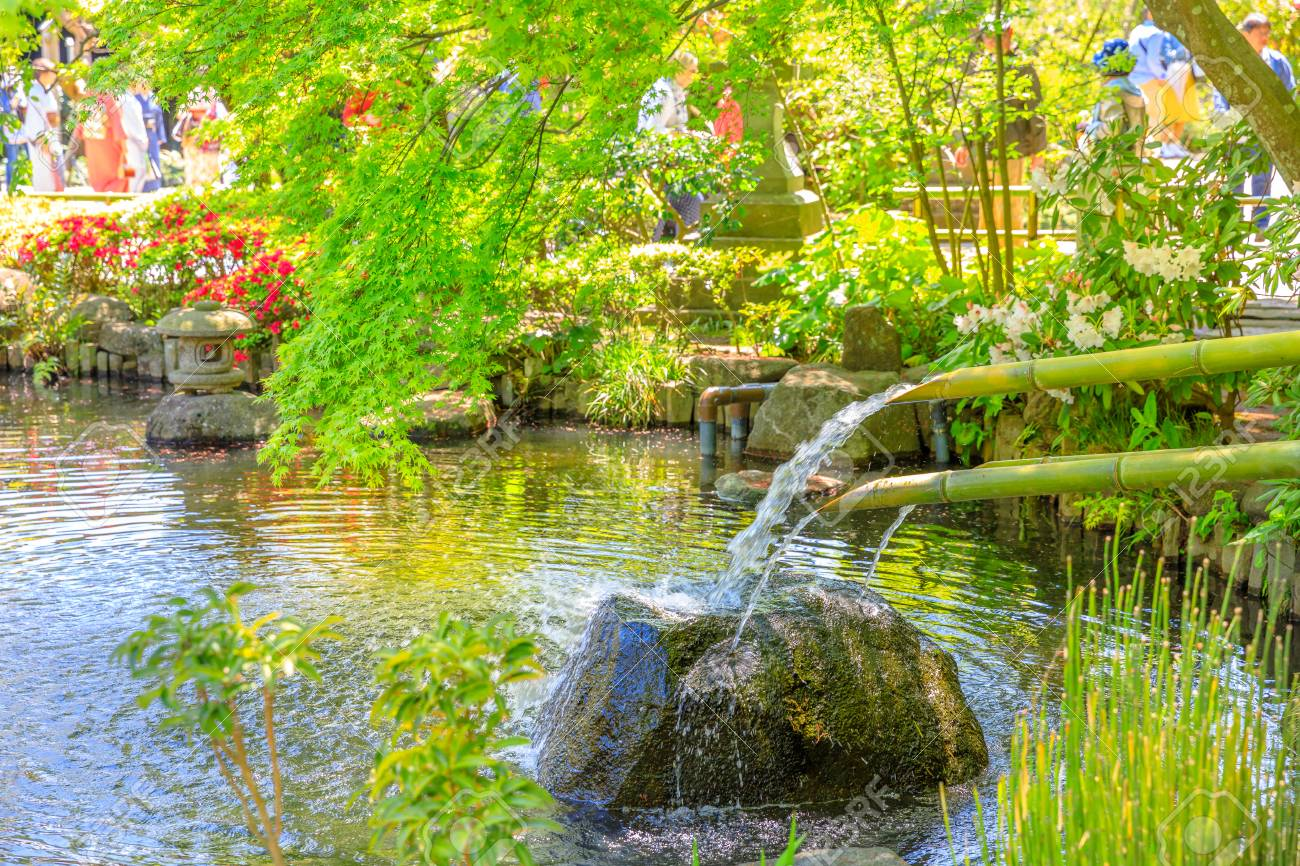 Japanese Culture Concept Close Up Of Traditional Japanese Bamboo Fountain In Hase Dera Garden