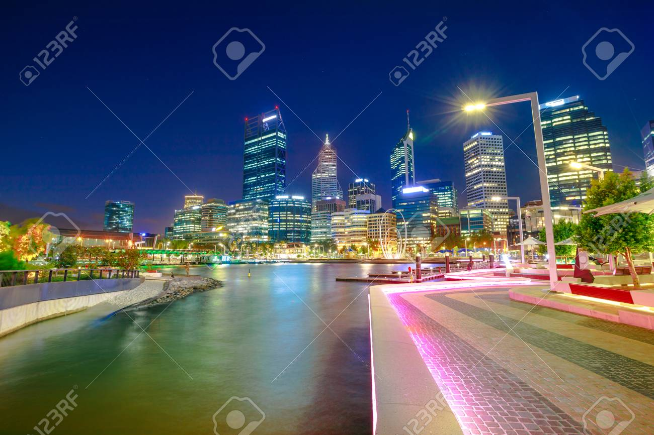 Stock Photo   Walkway With Night Lighting At Elizabeth Quay Marina And  Esplanade With Skyscrapers On Swan River. Perth Downtown Skyline The Capital  City Of ... Great Ideas