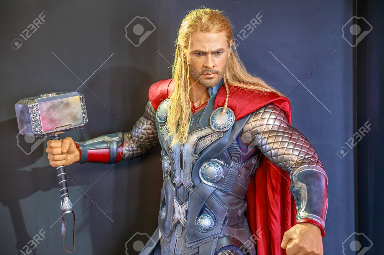 Tokyo, Japan - April 20, 2017: portrait of Thor Chris Hemsworth, God of Thunder, model with an enchanted hammer Mjolnir, from Age of Heroes movie at Mori Tower, Roppongi Hills complex, Minato Tokyo. - 98649451