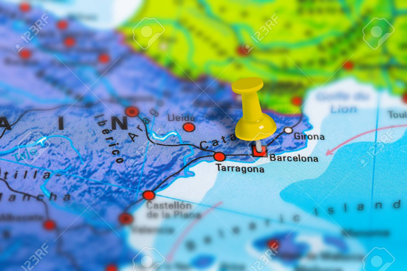 Spain Map Of Europe.Barcelona In Spain Pinned On Colorful Political Map Of Europe