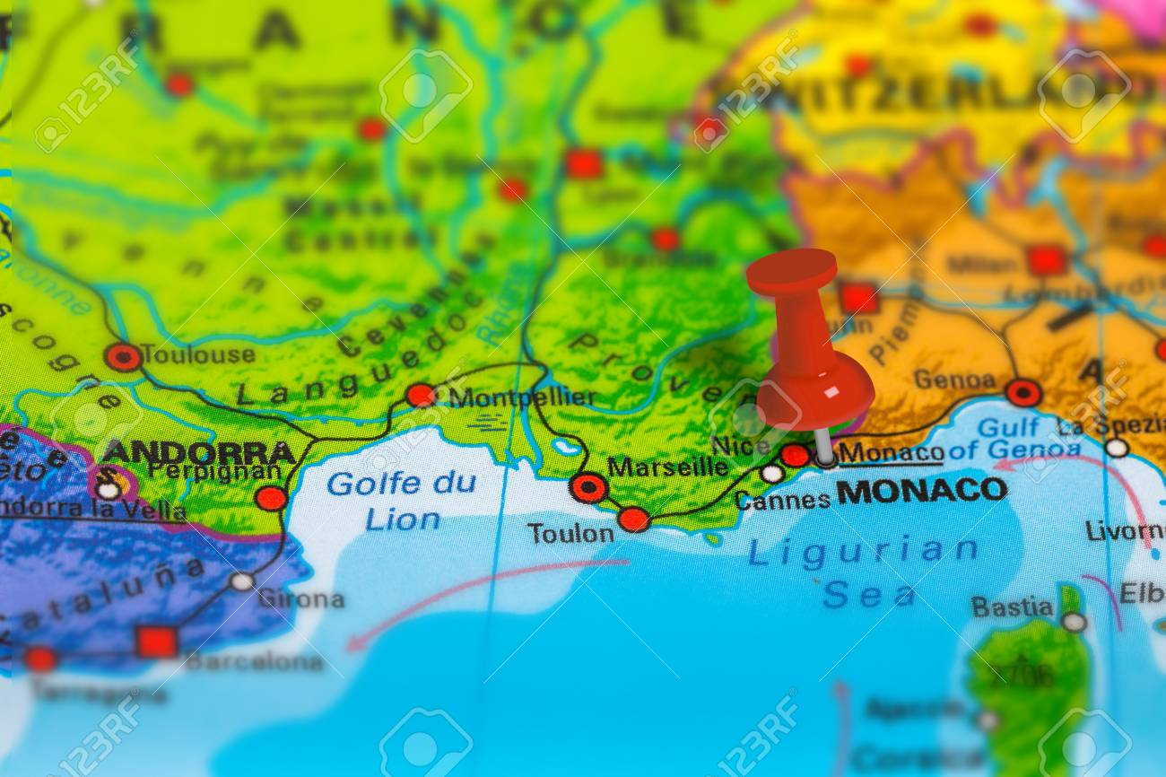 Monaco On Map Of France.Monaco In France Pinned On Colorful Political Map Of Europe