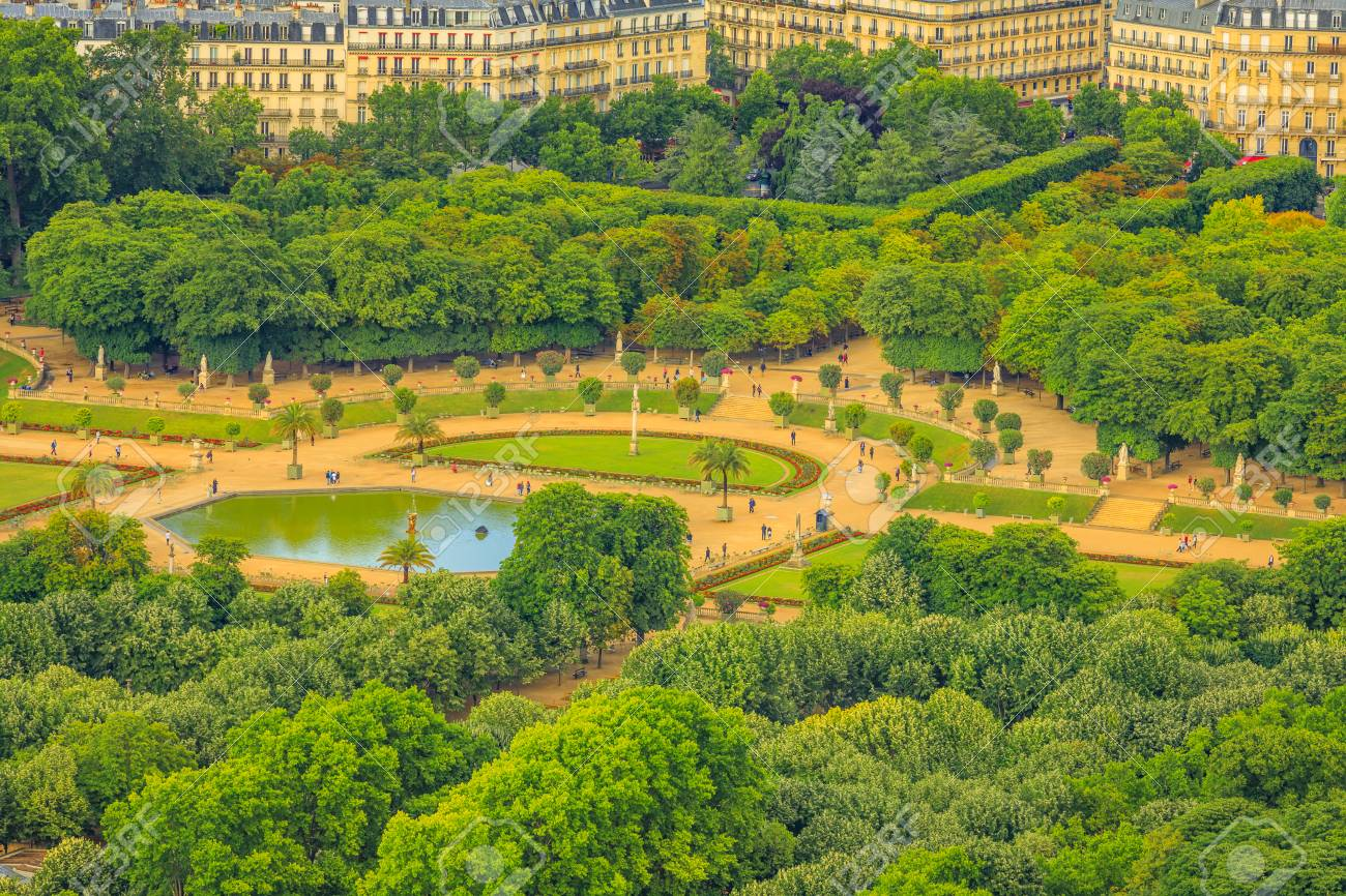 Closeup Of Le Jardin Du Luxembourg Gardens From Panoramic Terrace