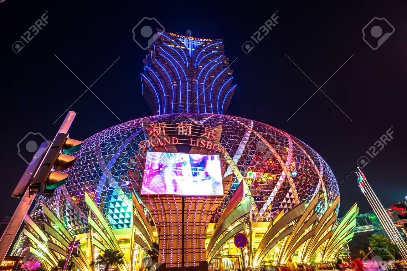 Macau China December 8 2016 Grand Lisboa Casino At Night