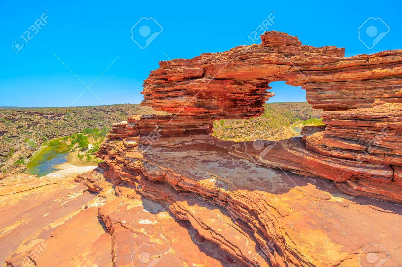 Natures Window over Murchison River Gorge in Kalbarri National Park, Western Australia. The red rock sandstone arch is the most iconic natural attractions in WA. - 111488067