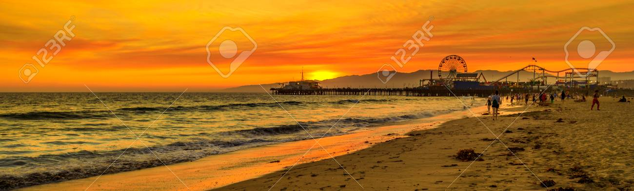 Scenic Landscape Of Iconic Santa Monica Pier At Orange Sunset Stock Photo Picture And Royalty Free Image Image 115855695