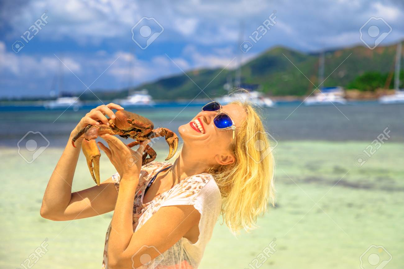Tourism In Seychelles Africa Indian Ocean Happy Tourist Woman