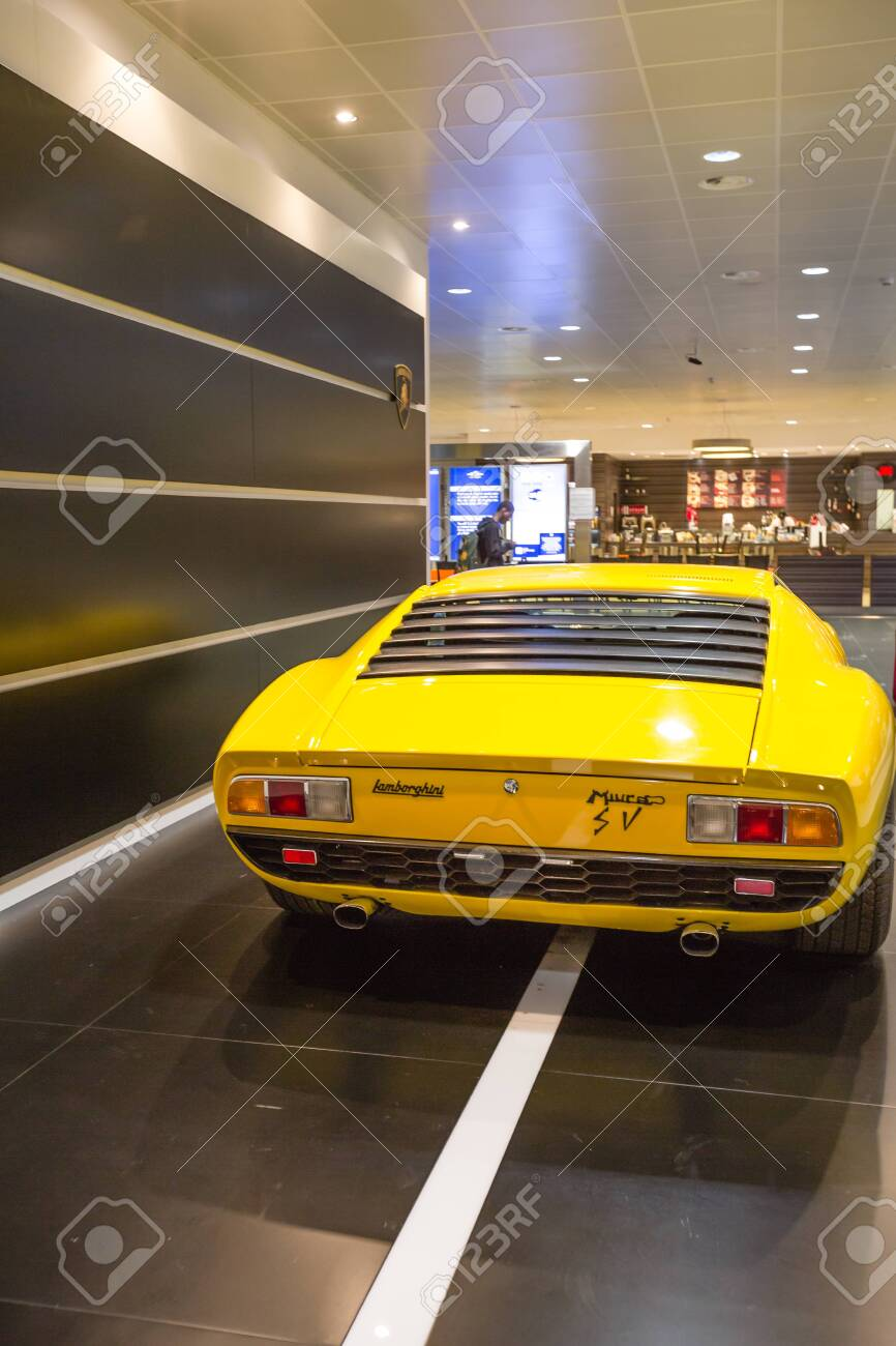 Bologna Airport Italy June 16 2014 Yellow Vintage Lamborghini Stock Photo Picture And Royalty Free Image Image 137709560