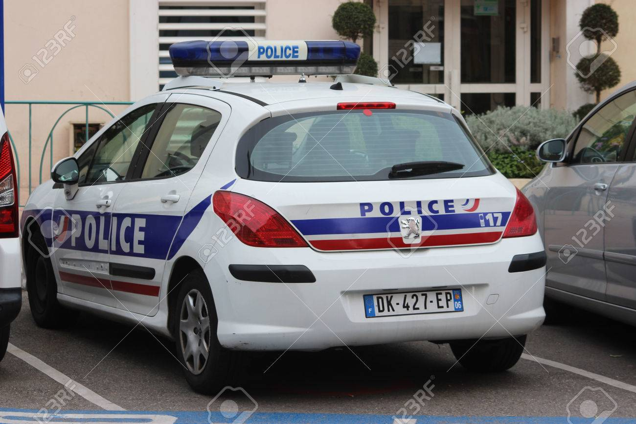 Menton France March 20 2016 French Police Nationale Peugeot Connect
