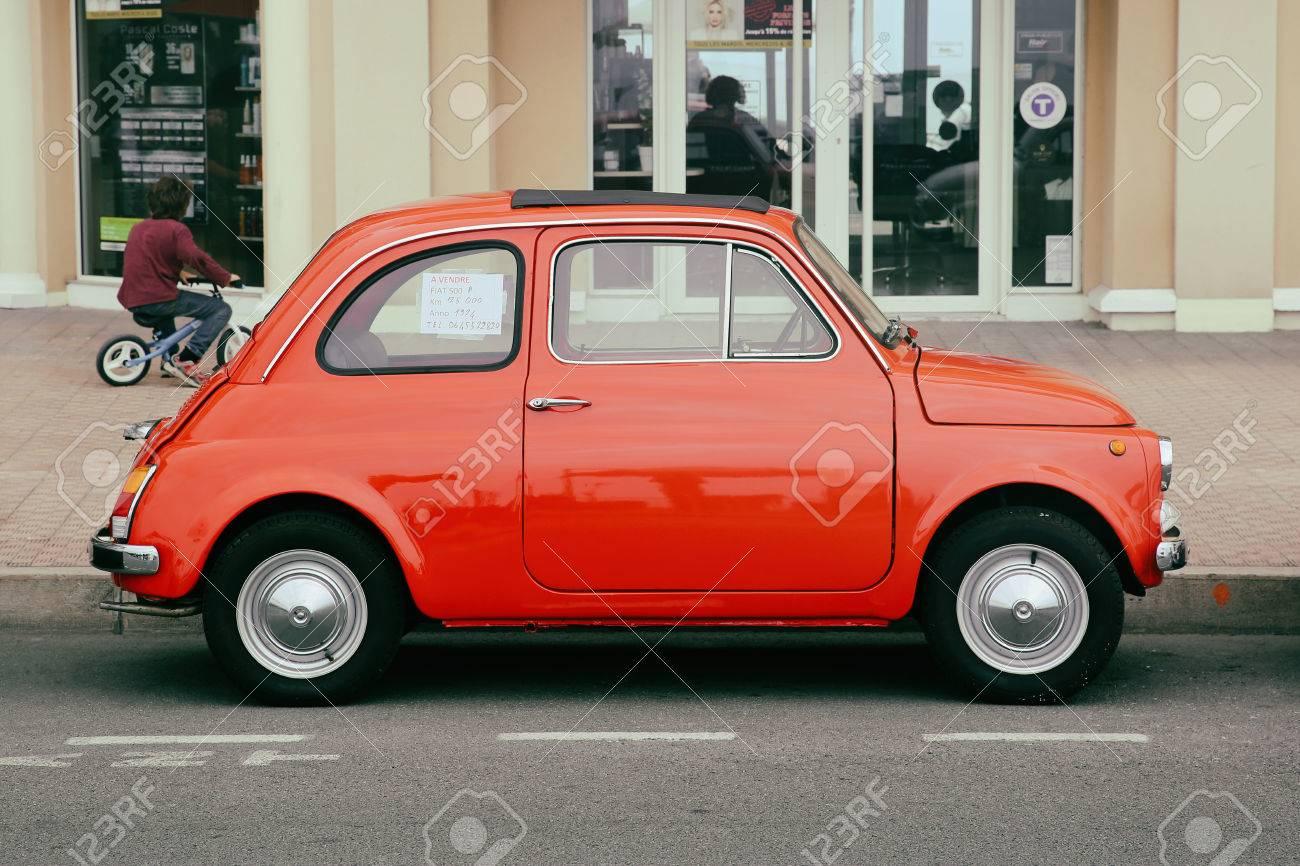 Menton France May 14 2016 Small Italian Car Fiat 500 Parked