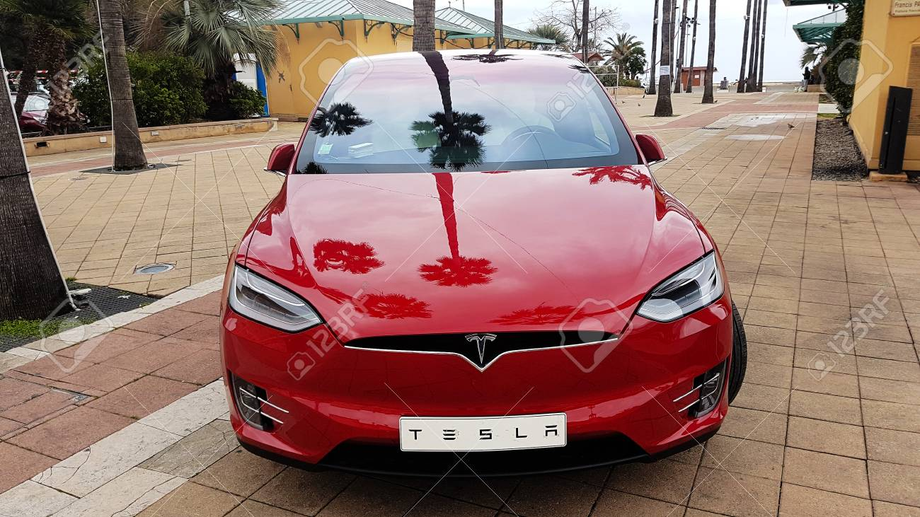Menton France March 3 2018 Red Tesla Model X Electric Car