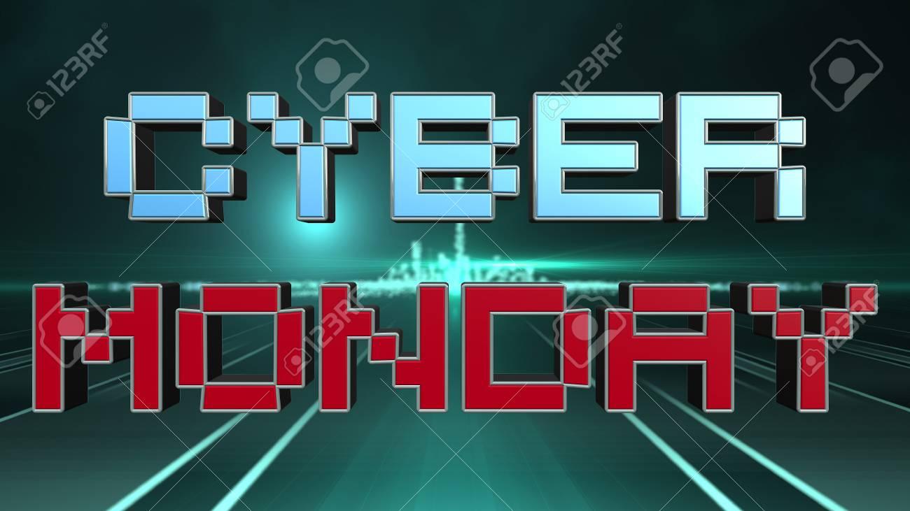 Futuristic Cyber Monday Sale 3D Text Design, Online Sales Symbol