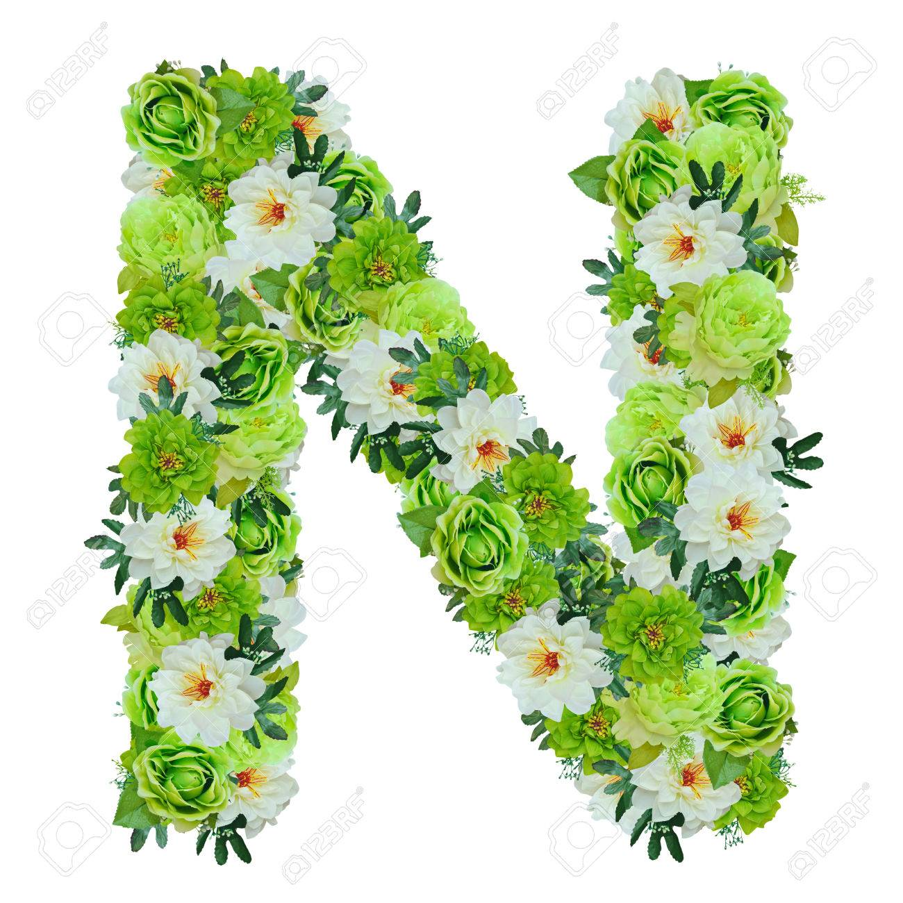 Letter N from green and white flowers isolated on white with working path - 82156231