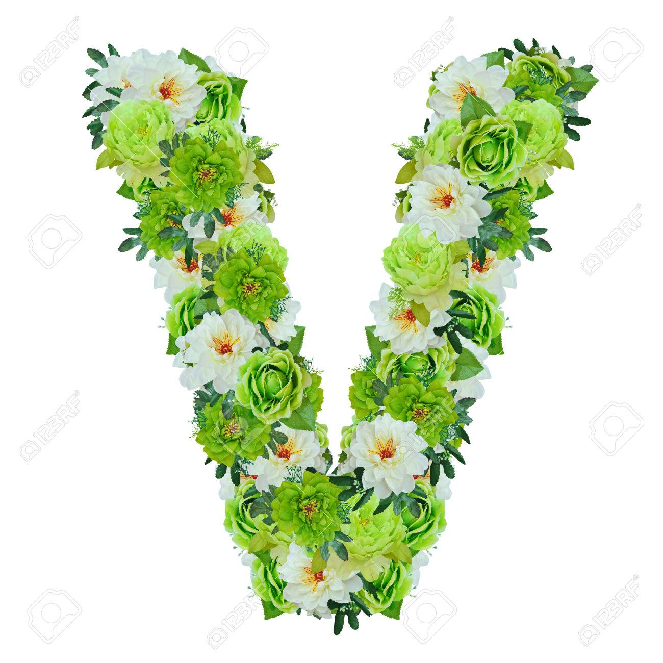Letter v from green and white flowers isolated on white with working letter v from green and white flowers isolated on white with working path stok fotoraf mightylinksfo
