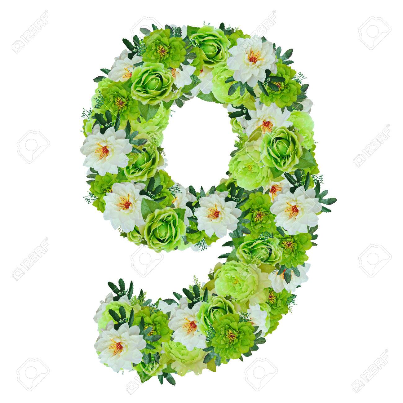 Number 9 from green and white flowers isolated on white with working number 9 from green and white flowers isolated on white with working path stok fotoraf mightylinksfo