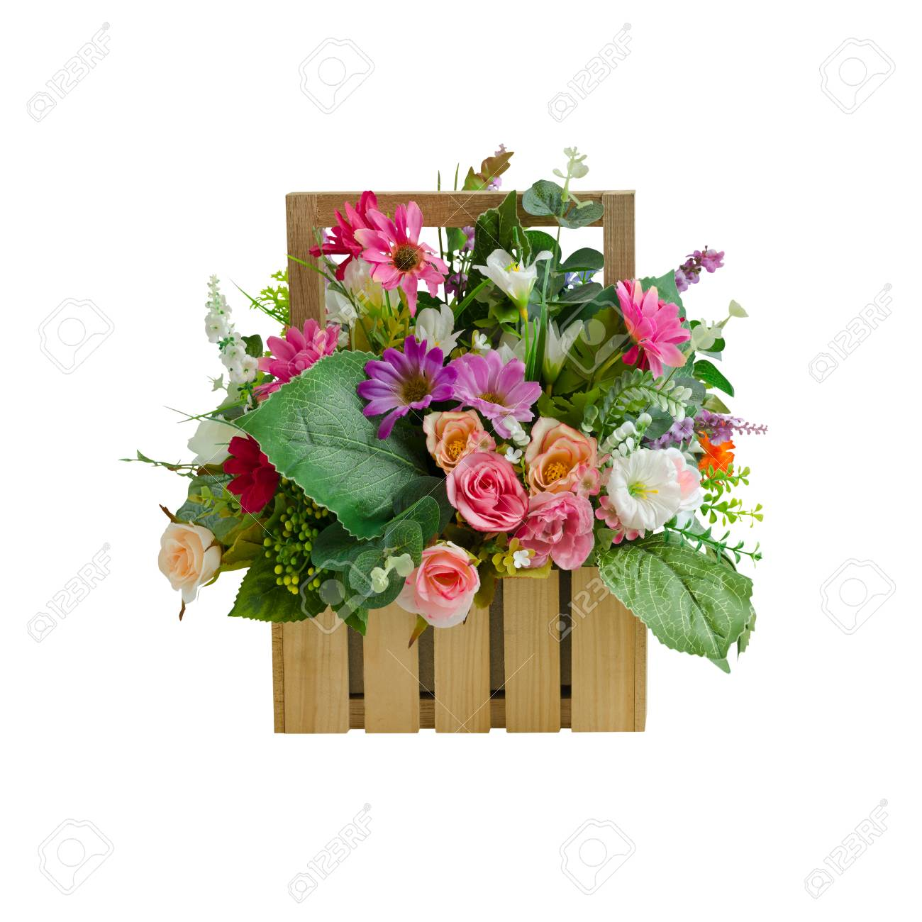 Colorful artificial flower basket decoration isolated on white with colorful artificial flower basket decoration isolated on white with working path stok fotoraf 88254926 mightylinksfo