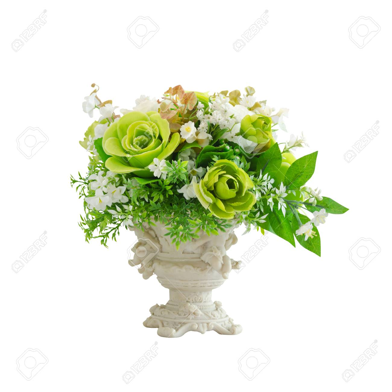 Beautiful white and green artificial flowers in white vase isolated beautiful white and green artificial flowers in white vase isolated on white background with working path mightylinksfo