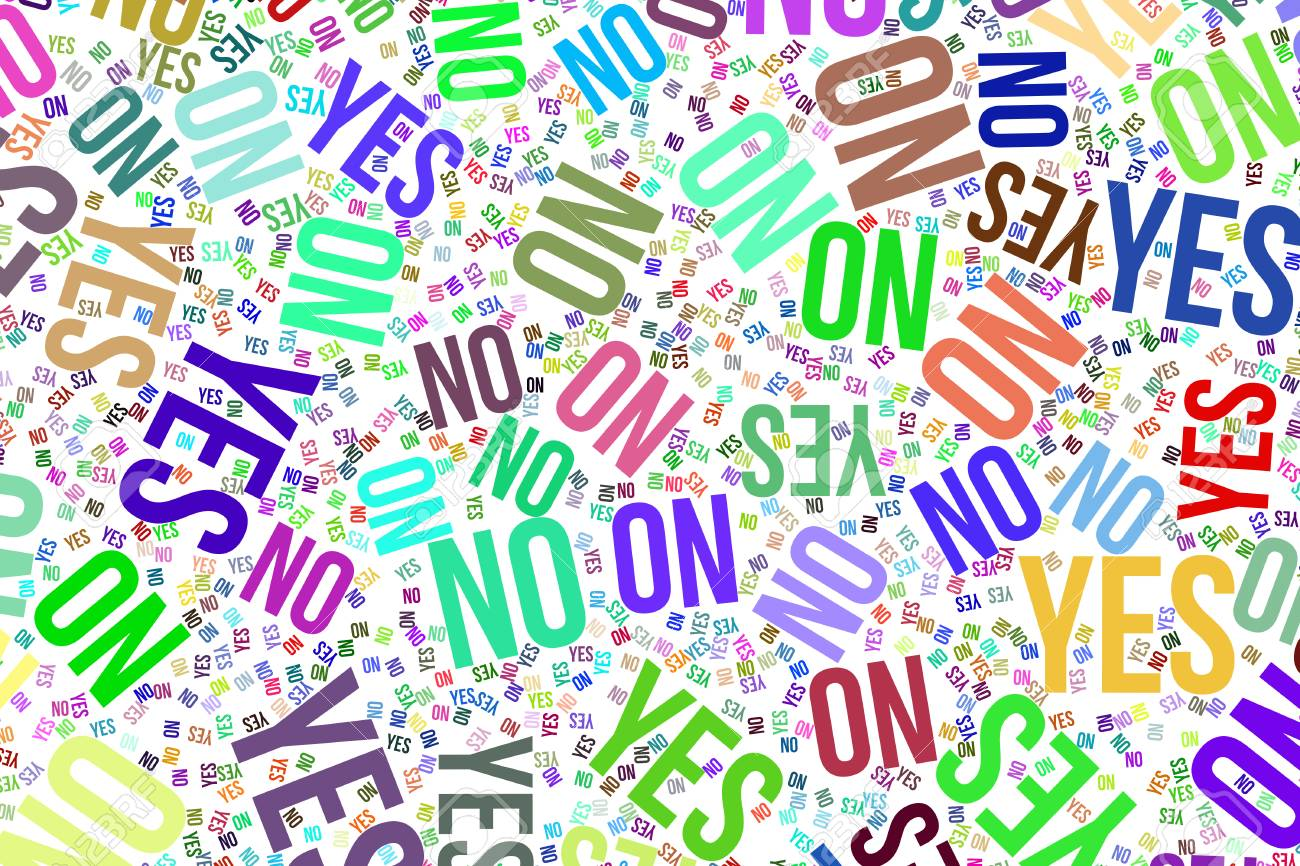 Stock Photo - Yes or no, decision & motivation conceptual word cloud for web page, graphic design, catalog, wallpaper or background.