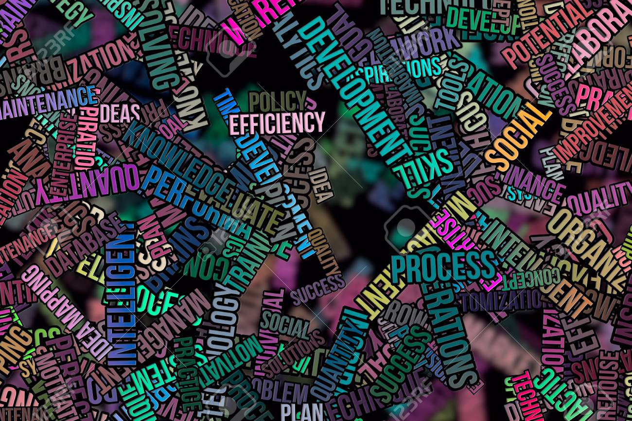 business word cloud abstract embossed for web page graphic design