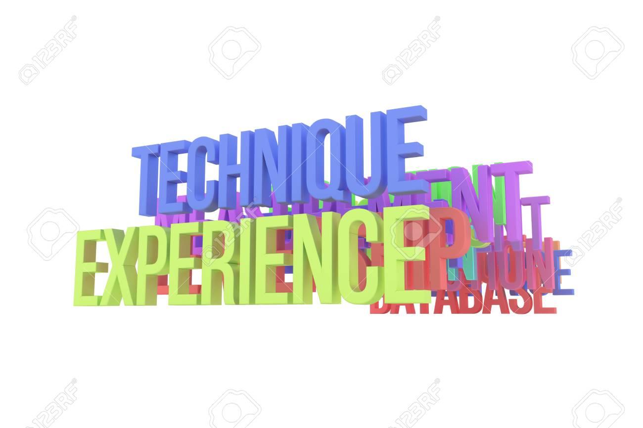 Technique & experience, business conceptual colorful 3D words