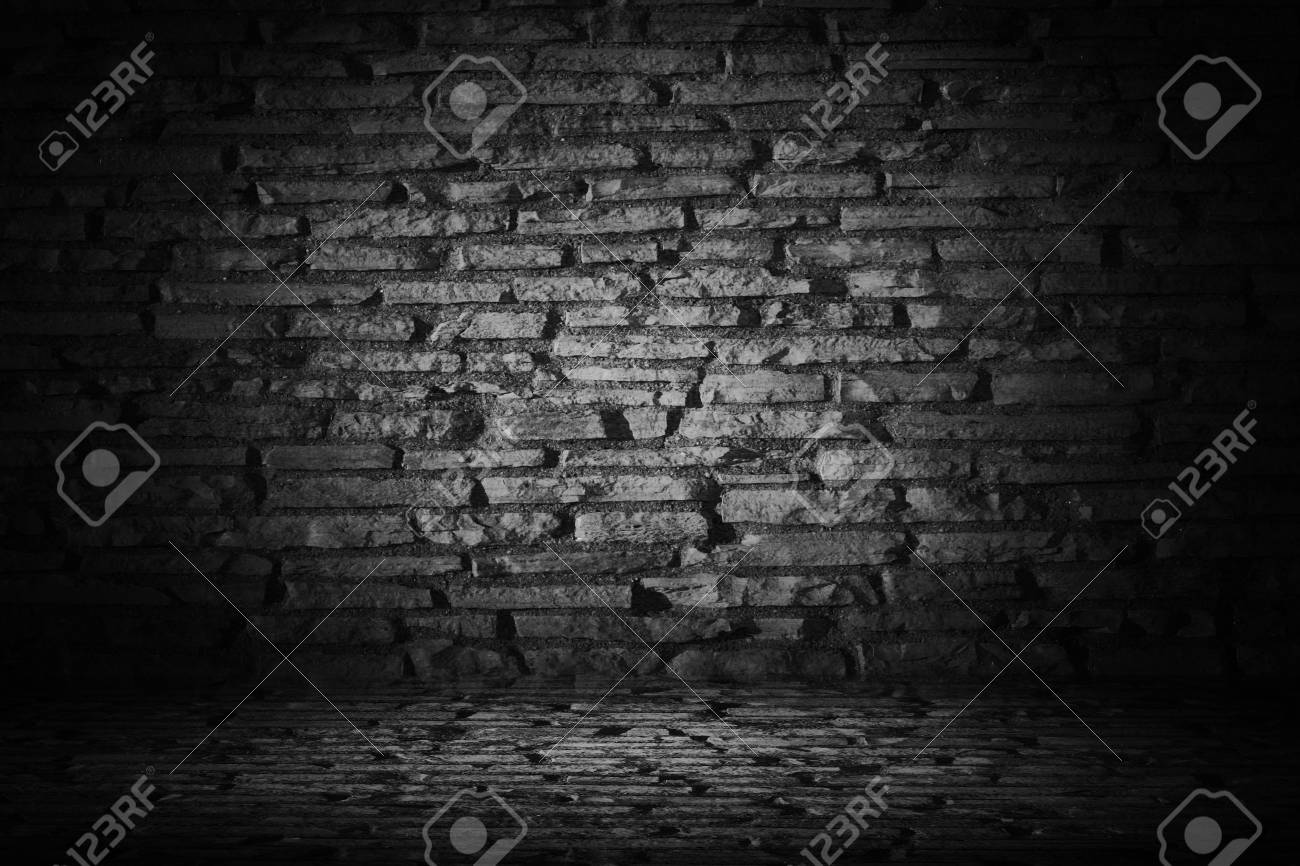 Abstract Black Cement Brick With Border Black Vignette Background
