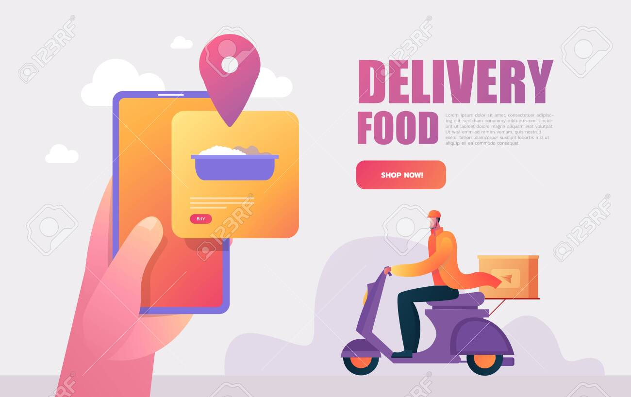 Food delivery service. Mobile application. Young male courier with a large backpack riding a motor bike. Flat editable vector illustration, clip art. - 149325988