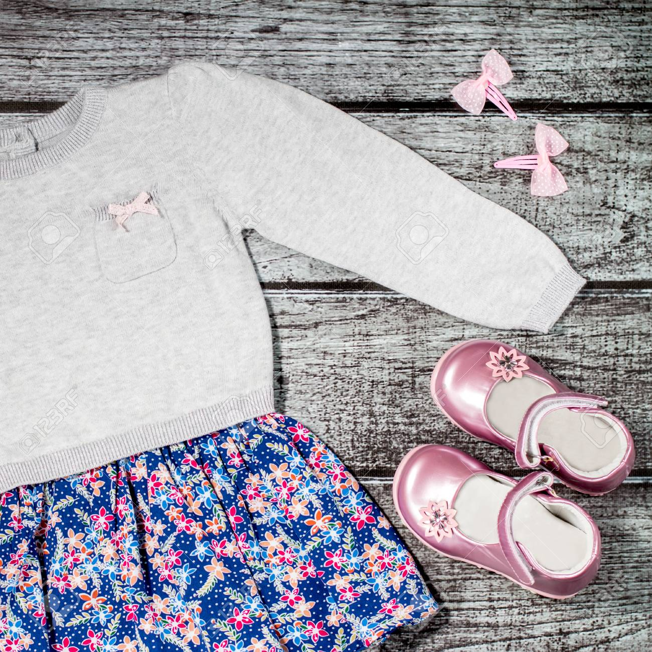 Baby Girl Stylish Casual Clothes Grey And Blue Dress With Flower