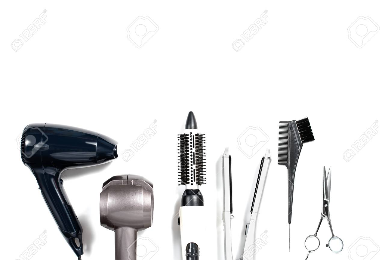 Various Hair Styling Tools On White Background Top View Copy