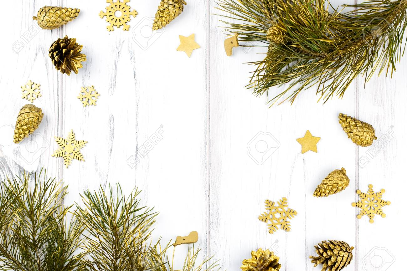 Christmas Frame With Fir Tree Branches, Pine Cones And Golden ...
