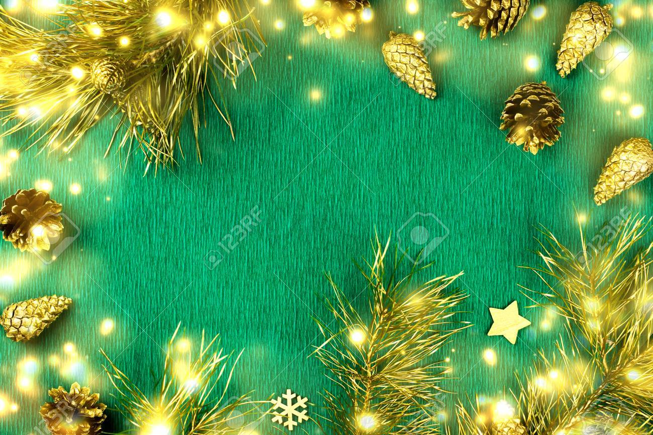 Green Christmas Lights.Christmas Frame With Fir Tree Branches Pine Cones Christmas
