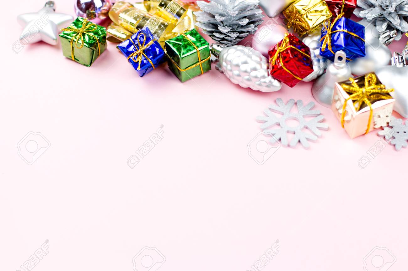 Pastel Christmas Ornaments.Colorful Christmas Ornaments Close Up On A Pastel Background
