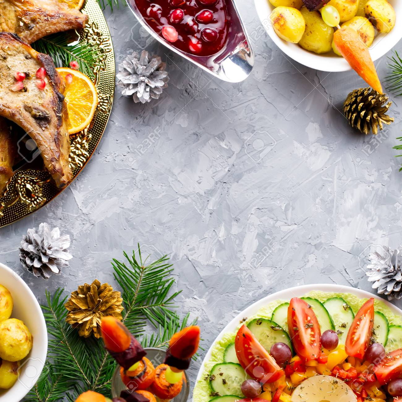 Delicious Christmas Meal With Roasted Meat Steak Christmas Wreath
