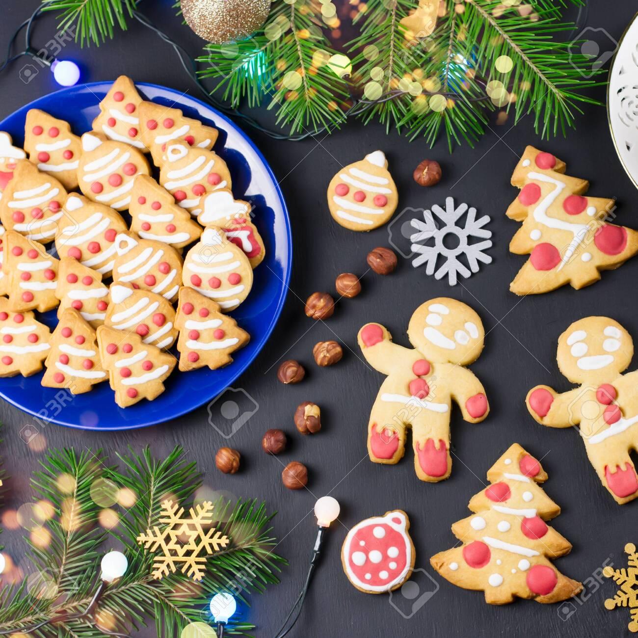 Tasty Christmas Cookies Christmas Tree Decorations On Black