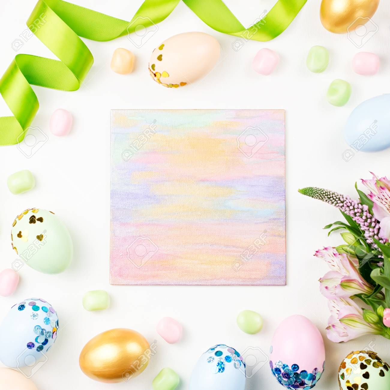 Festive Easter Background With Decorated Eggs Flowers Candy And