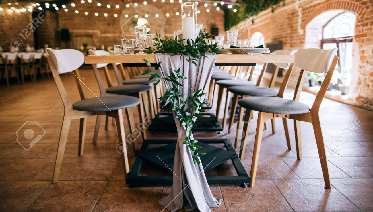 elegant table set, tables and chairs in restaurant - 139296689