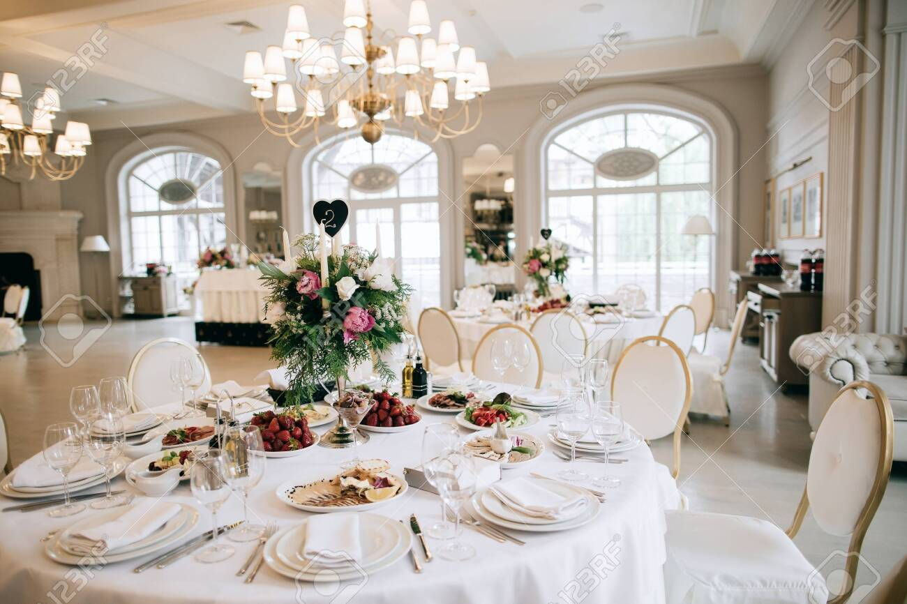 Restaurant table with food. Catering service. Wedding celebration, decoration. Dinner time, lunch. - 144760322