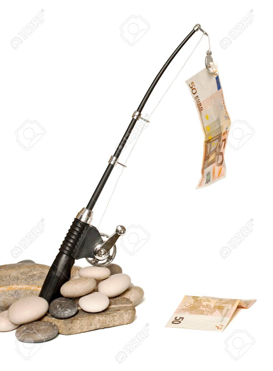 Fishing rod while fishing euro bills Stock Photo - 9937015